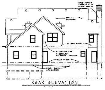 Colonial House Plan 68821 Rear Elevation