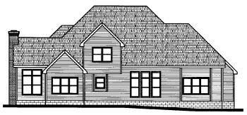 European House Plan 68822 Rear Elevation