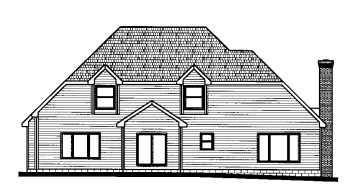 European House Plan 68823 Rear Elevation
