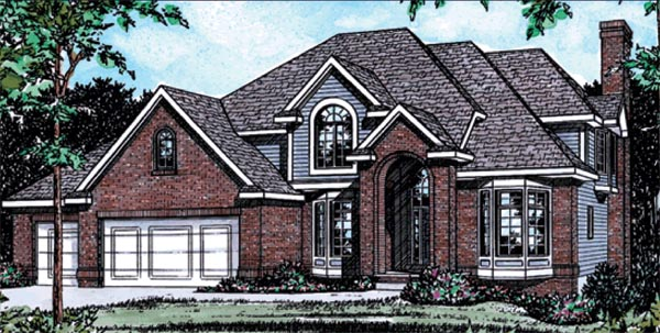 European House Plan 68826 with 4 Beds, 4 Baths, 3 Car Garage Elevation