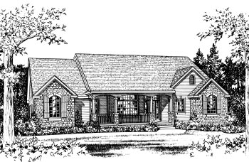 Traditional House Plan 68827 with 3 Beds, 2 Baths, 2 Car Garage Elevation