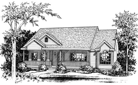 Ranch House Plan 68835 with 3 Beds, 2 Baths, 2 Car Garage Elevation