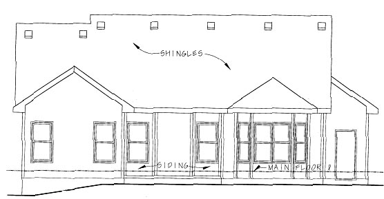 One-Story , Ranch , Rear Elevation of Plan 68837