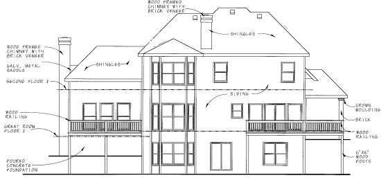 European House Plan 68841 Rear Elevation