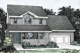 House Plan 68848 | Country Style House Plan with 1400 Sq Ft, 2 Bed, 3 Bath, 2 Car Garage Elevation