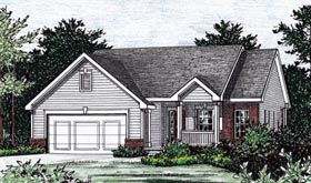 House Plan 68849 | Traditional Style Plan with 1377 Sq Ft, 2 Bedrooms, 3 Bathrooms, 2 Car Garage Elevation