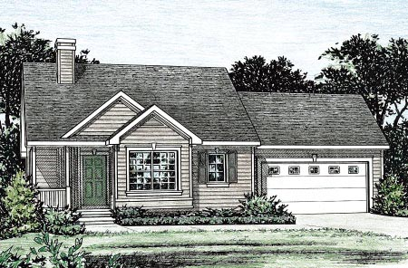 House Plan 68851 with 3 Beds, 2 Baths, 2 Car Garage Elevation