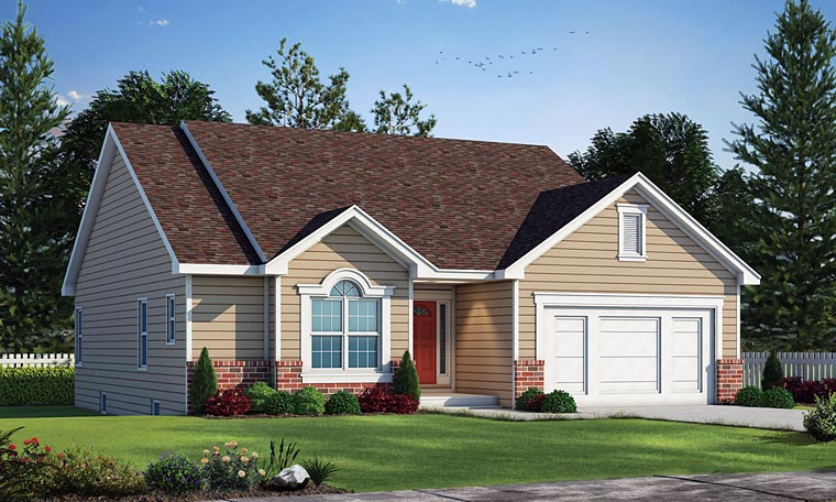 Ranch House Plan 68853 with 3 Beds, 3 Baths, 2 Car Garage Elevation