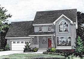 House Plan 68855 | Country Style Plan with 1389 Sq Ft, 3 Bedrooms, 3 Bathrooms, 2 Car Garage Elevation