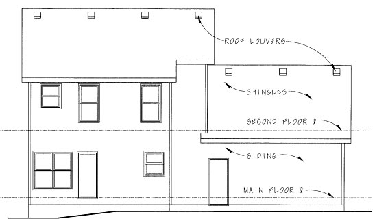 Traditional House Plan 68858 with 3 Beds, 3 Baths, 2 Car Garage Rear Elevation