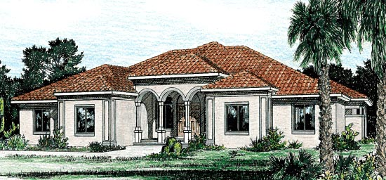 House Plan 68860 | Mediterranean Style Plan with 2715 Sq Ft, 3 Bedrooms, 3 Bathrooms, 3 Car Garage Elevation