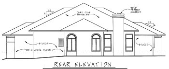 House Plan 68860 | Mediterranean Style Plan with 2715 Sq Ft, 3 Bedrooms, 3 Bathrooms, 3 Car Garage Rear Elevation