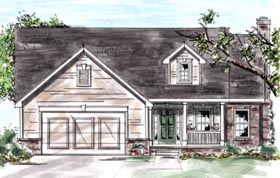 Country House Plan 68876 with 2 Beds, 3 Baths, 2 Car Garage Elevation
