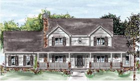 House Plan 68880 | Country Farmhouse Style Plan with 2435 Sq Ft, 4 Bedrooms, 4 Bathrooms, 2 Car Garage Elevation