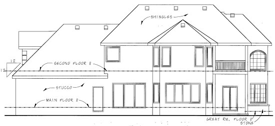 European House Plan 68881 Rear Elevation