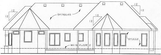 European House Plan 68882 Rear Elevation