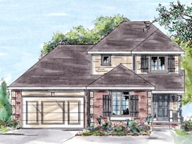 House Plan 68884 | Traditional Style House Plan with 1488 Sq Ft, 4 Bed, 3 Bath, 2 Car Garage Elevation