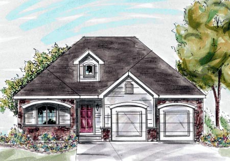European House Plan 68886 with 3 Beds, 2 Baths, 2 Car Garage Elevation