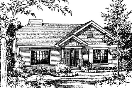 Bungalow House Plan 68890 with 2 Beds, 2 Baths, 2 Car Garage Elevation