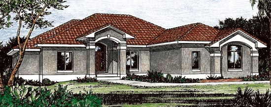 Mediterranean, One-Story House Plan 68898 with 3 Beds, 3 Baths, 3 Car Garage Elevation