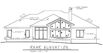Mediterranean, One-Story House Plan 68898 with 3 Beds, 3 Baths, 3 Car Garage Rear Elevation