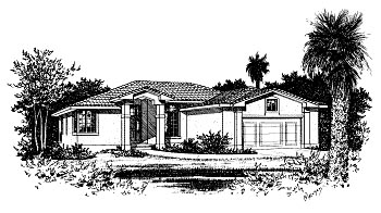 House Plan 68901 | Mediterranean Style Plan with 1895 Sq Ft, 3 Bedrooms, 2 Bathrooms, 2 Car Garage Elevation