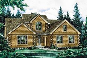 Log House Plan 68902 Elevation