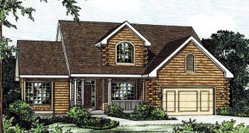 Log House Plan 68903 Elevation