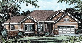 Traditional House Plan 68904 with 2 Beds, 2 Baths, 2 Car Garage Elevation