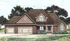 European House Plan 68911 with 4 Beds, 3 Baths, 3 Car Garage Elevation