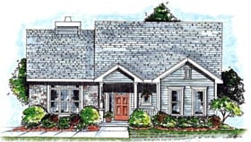 House Plan 68914 | Country Style Plan with 1385 Sq Ft, 2 Bedrooms, 2 Bathrooms, 2 Car Garage Elevation