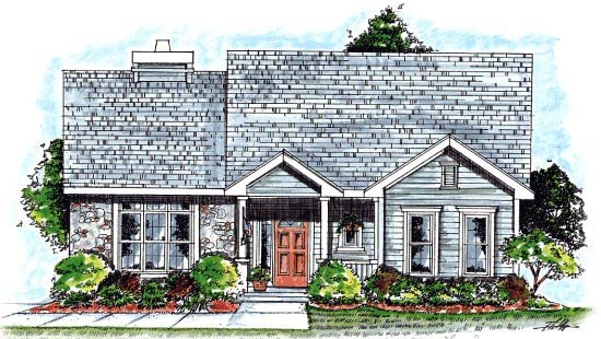Country, One-Story House Plan 68914 with 2 Beds, 2 Baths, 2 Car Garage Elevation