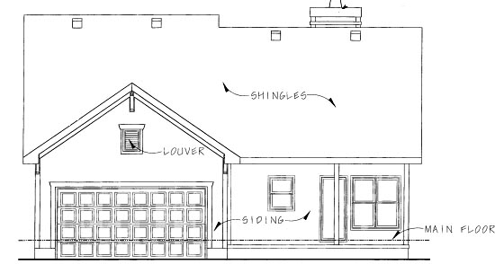 Country , Rear Elevation of Plan 68914