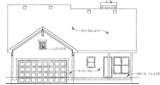 House Plan 68914 | Country Style Plan with 1385 Sq Ft, 2 Bedrooms, 2 Bathrooms, 2 Car Garage Rear Elevation