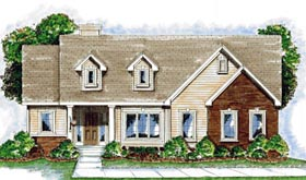 House Plan 68917 | Cape Cod Style Plan with 1888 Sq Ft, 1 Bedrooms, 2 Bathrooms, 2 Car Garage Elevation