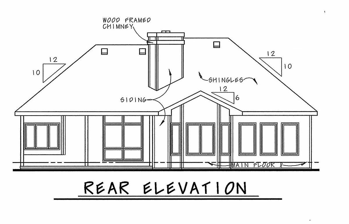 European House Plan 68919 Rear Elevation