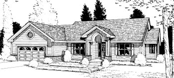 One-Story, Ranch House Plan 68926 with 3 Beds, 2 Baths, 2 Car Garage Elevation