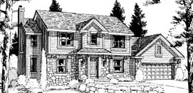 House Plan 68959 | Colonial, Country Style House Plan with 2327 Sq Ft, 4 Bed, 3 Bath, 2 Car Garage Elevation
