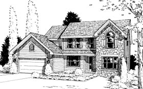House Plan 68970 | Country Style Plan with 2173 Sq Ft, 4 Bedrooms, 3 Bathrooms, 2 Car Garage Elevation