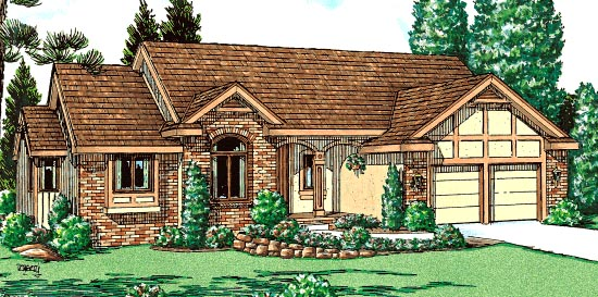 House Plan 68975 | Traditional Style Plan with 1775 Sq Ft, 3 Bedrooms, 2 Bathrooms, 2 Car Garage Elevation