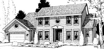 Colonial House Plan 68978 with 4 Beds, 3 Baths, 2 Car Garage Elevation