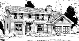 Colonial Saltbox House Plan 68989 Elevation