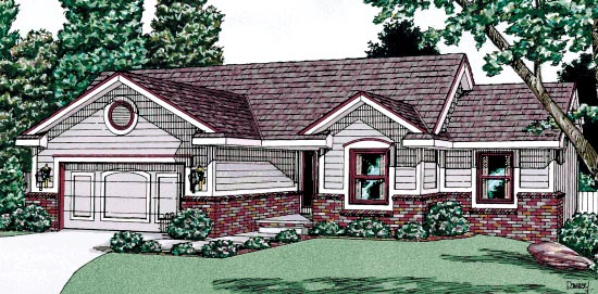 House Plan 68995 | Ranch Style Plan with 1295 Sq Ft, 3 Bedrooms, 2 Bathrooms, 2 Car Garage Elevation