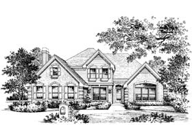 European , Traditional House Plan 69003 with 4 Beds, 4 Baths, 2 Car Garage Elevation