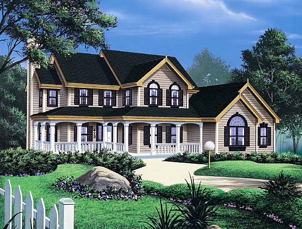 Country, Farmhouse, Southern House Plan 69006 with 3 Beds, 4 Baths, 2 Car Garage Front Elevation