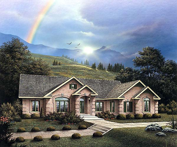 One-Story, Traditional House Plan 69011 with 3 Beds, 3 Baths, 3 Car Garage Elevation