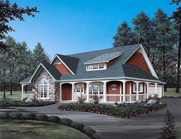 Country Traditional Elevation of Plan 69019