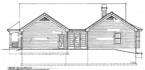 Country Traditional Rear Elevation of Plan 69019