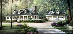 Country , Farmhouse , Ranch , Southern House Plan 69020 with 3 Beds, 2 Baths, 3 Car Garage Elevation