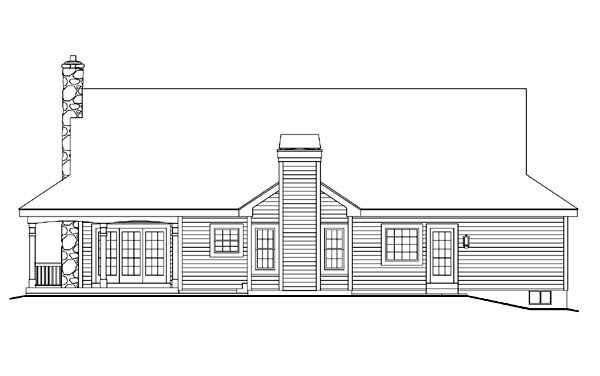 Cape Cod Country Farmhouse Ranch Southern Victorian House Plan 69020 Rear Elevation